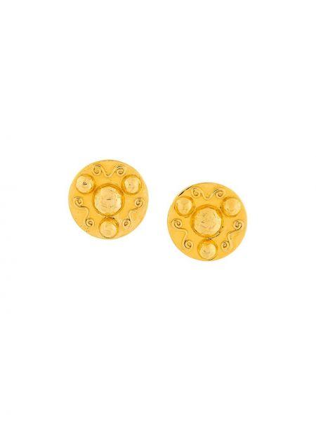 Клипсы золотые металлические винтажные Céline Pre-owned