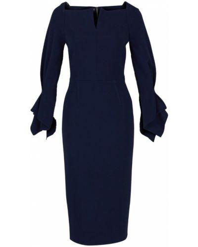 Niebieska sukienka midi z wiskozy z dekoltem w serek Roland Mouret