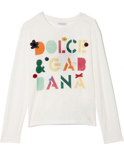 Biała koszulka bawełniana Dolce & Gabbana Kids