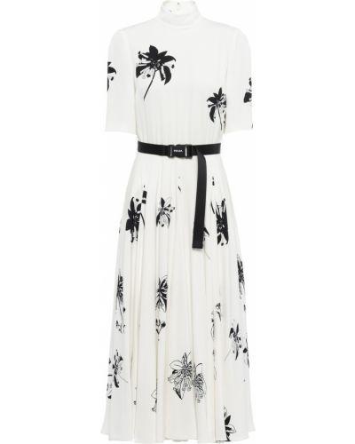 Платье с поясом - белое Prada