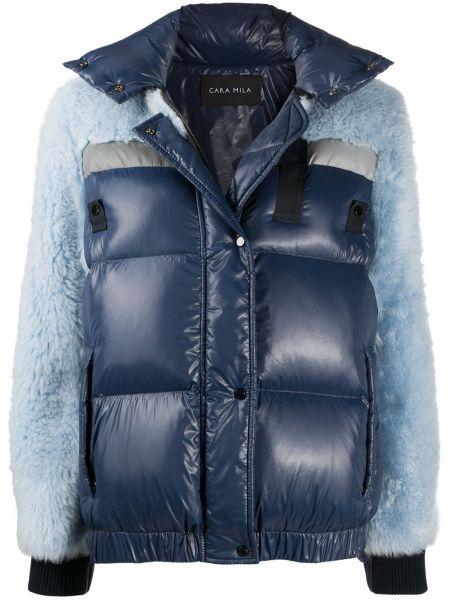 Синее пальто со вставками на молнии из овчины Cara Mila