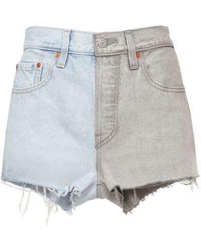С завышенной талией хлопковые синие джинсовые шорты Levi's Red Tab