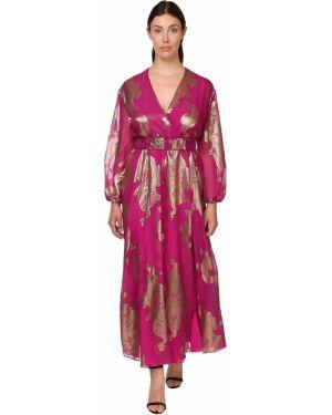 Платье с поясом с V-образным вырезом длинное Marina Rinaldi
