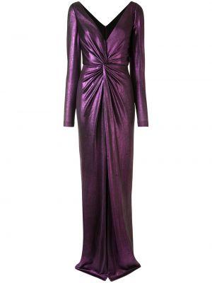 Приталенное фиолетовое с рукавами платье макси Marchesa Notte