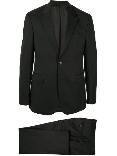 Czarny garnitur wełniany z długimi rękawami Cerruti 1881
