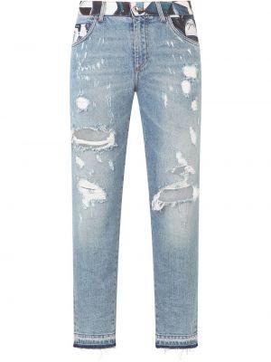 Хлопковые синие джинсы на пуговицах Dolce & Gabbana