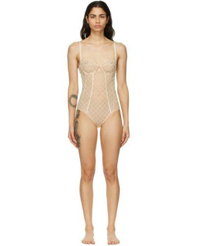 Beżowy body tiulowy z haftem Gucci