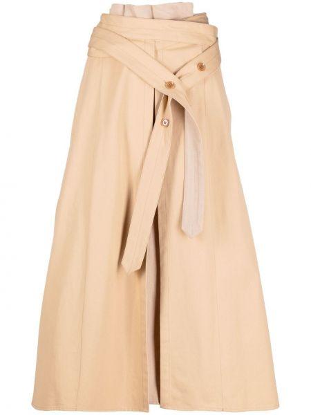 Beżowa spódnica midi rozkloszowana z paskiem Lemaire