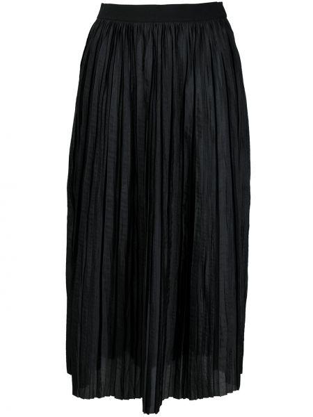 Черная плиссированная юбка миди с поясом Roberto Collina