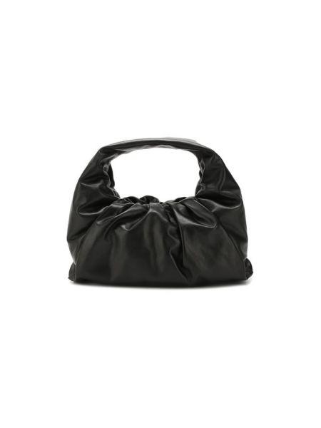 Кожаная базовая черная кожаная сумка матовая Bottega Veneta