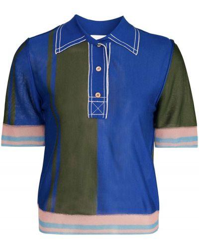 С рукавами шелковая синяя рубашка с коротким рукавом с воротником I-am-chen