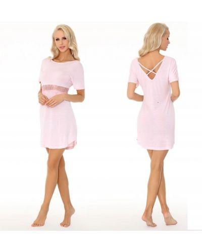 Różowy t-shirt koronkowy z wiskozy Livia Corsetti
