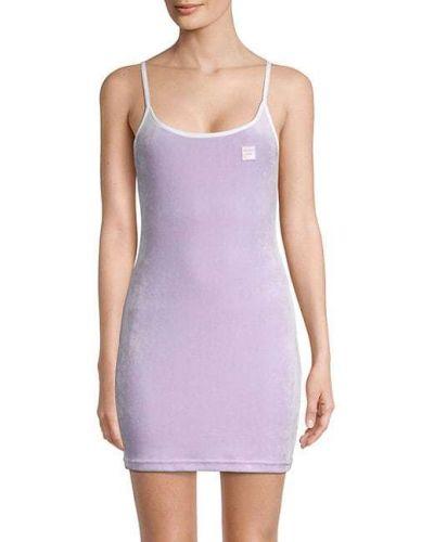 Фиолетовое облегающее бархатное платье мини Fila