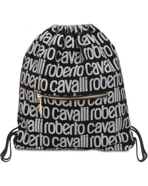 Czarny plecak z printem Roberto Cavalli