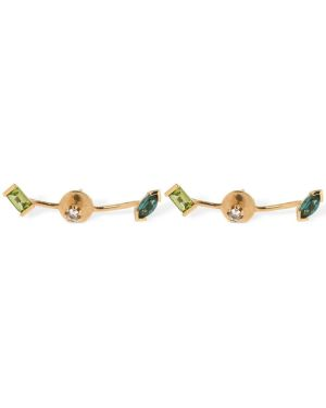 Zielone złote kolczyki sztyfty pozłacane Cornelia Webb