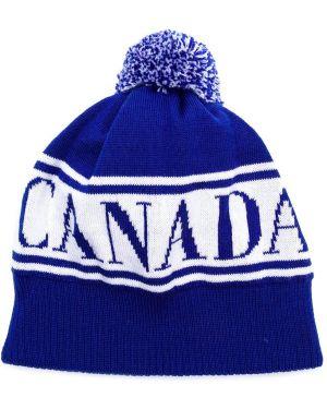 Prążkowana niebieska czapka wełniana Canada Goose Kids