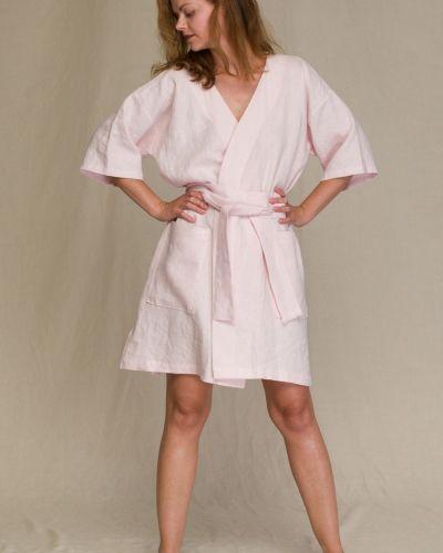 Розовый халат с запахом с поясом Key