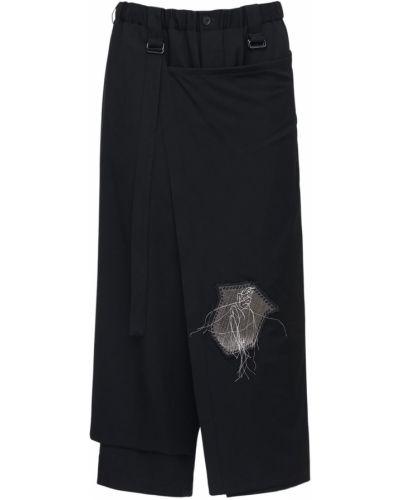 Шерстяная черная юбка с карманами Yohji Yamamoto