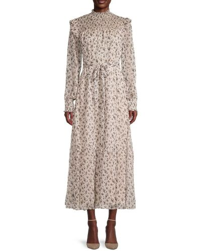 Бежевое платье макси с длинными рукавами с подкладкой English Factory