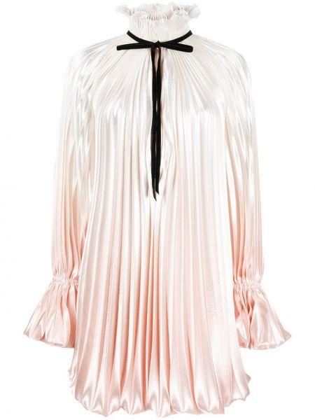 Розовое расклешенное платье с воротником с завязками Philosophy Di Lorenzo Serafini