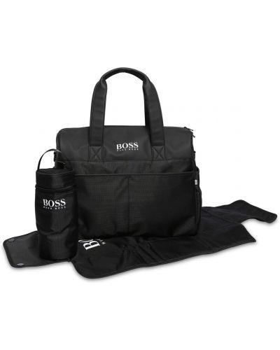 Czarna torebka z nylonu z haftem Hugo Boss