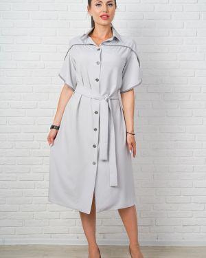 Летнее платье серое на пуговицах Taiga
