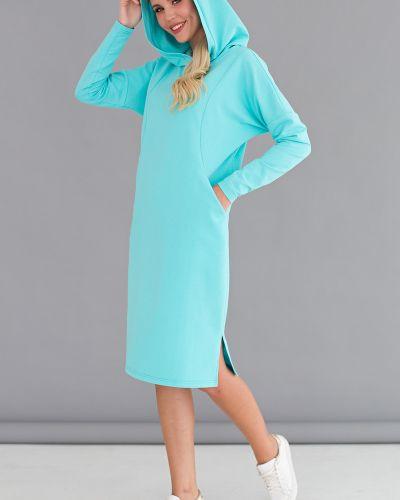 Спортивное бирюзовое платье с капюшоном с разрезами по бокам Lady Taiga