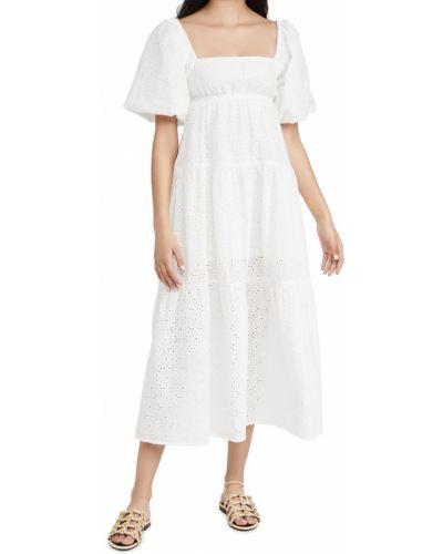 Белое платье макси квадратное с декольте Minkpink