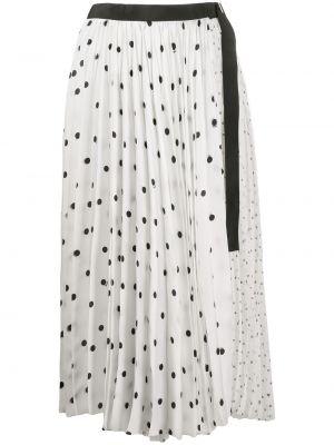 Белая асимметричная с завышенной талией юбка миди в рубчик Sacai