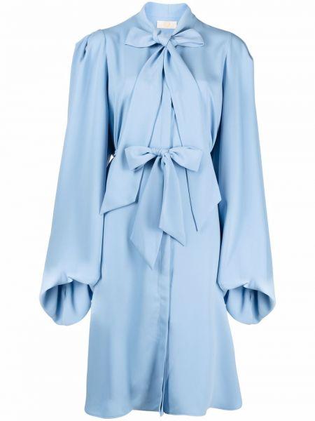 Синее платье макси с воротником с драпировкой Sara Battaglia