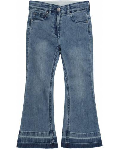 Хлопковые расклешенные синие джинсы Stella Mccartney Kids