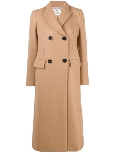 Коричневое шерстяное длинное пальто двубортное Semicouture