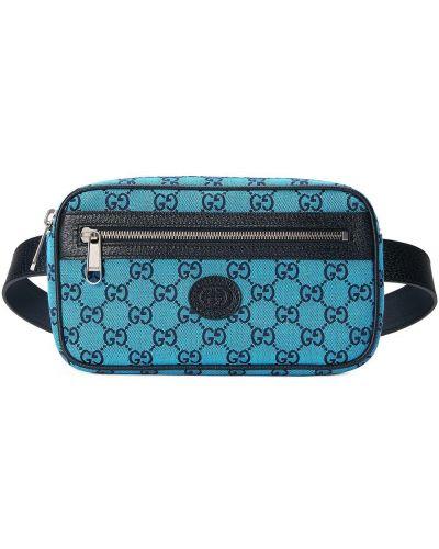 Pasek skórzany - niebieski Gucci