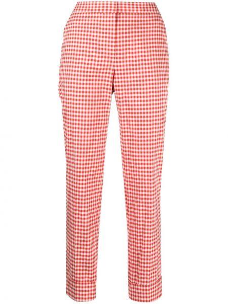 Красные хлопковые укороченные брюки в клетку Pt01