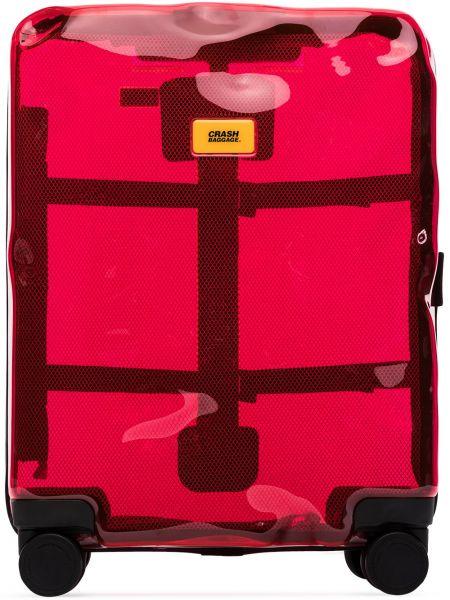 Чемодан прозрачный - красный Crash Baggage