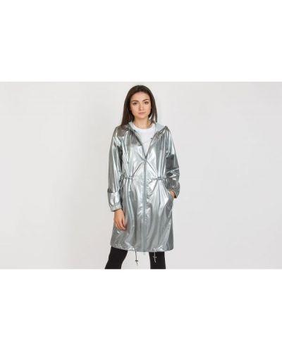 Długa kurtka z kapturem srebrna Rains