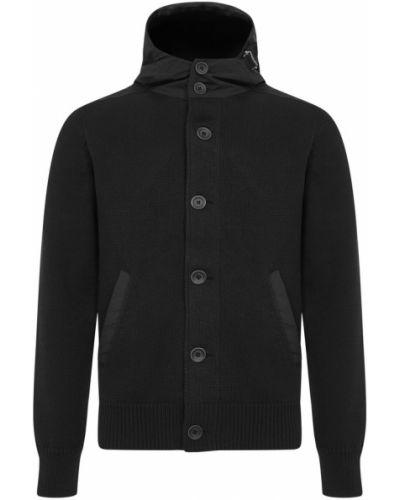 Czarny płaszcz z kapturem dzianinowy Herno