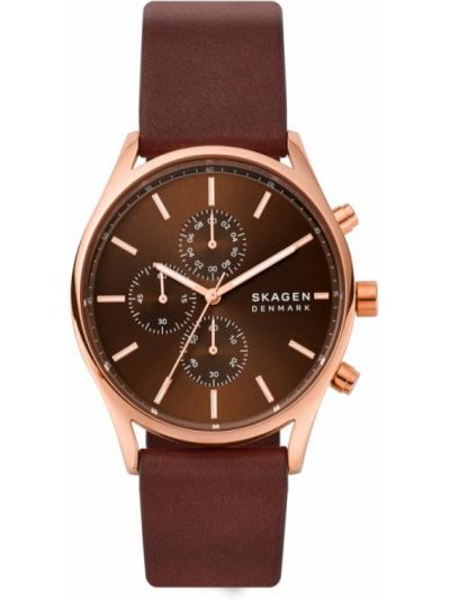 Brązowy zegarek z siateczką Skagen