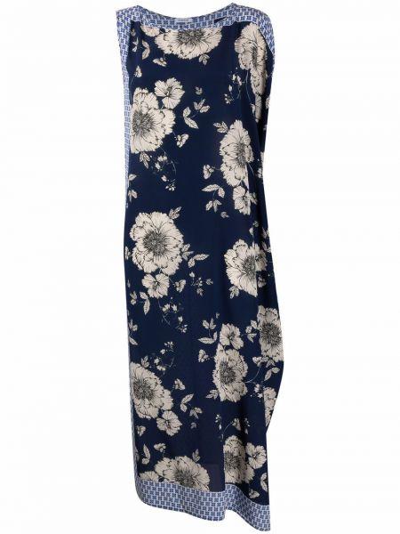 Шелковое синее платье в цветочный принт P.a.r.o.s.h.