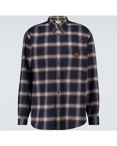 Skórzany niebieski koszula z kieszeniami Gucci