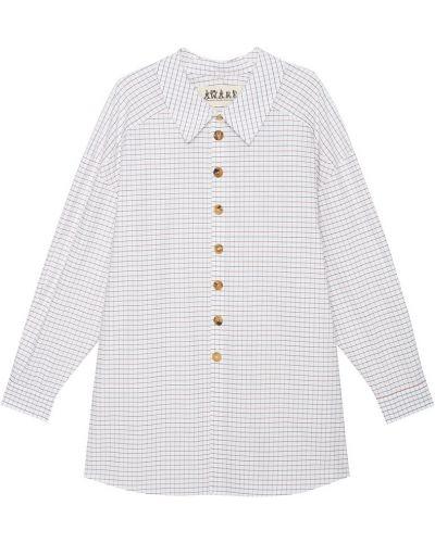 Хлопковая белая рубашка в клетку A.w.a.k.e.