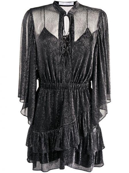 Серое платье мини с V-образным вырезом с оборками эластичное Iro