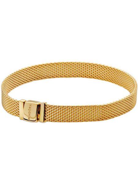 Золотистый желтый золотой браслет позолоченный с декоративной отделкой Pandora