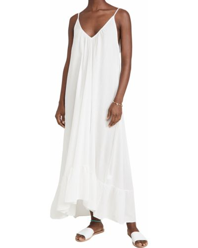 Хлопковое с ремешком белое платье 9seed