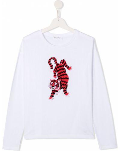 Прямая белая футболка с длинными рукавами Sonia Rykiel