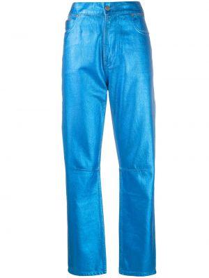 Хлопковые синие брюки с нашивками с высокой посадкой Mira Mikati