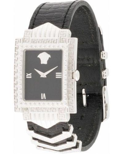 Кожаные черные кварцевые часы позолоченные прямоугольные Versace Pre-owned