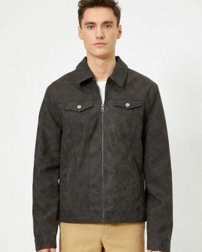 Серая кожаная куртка Koton