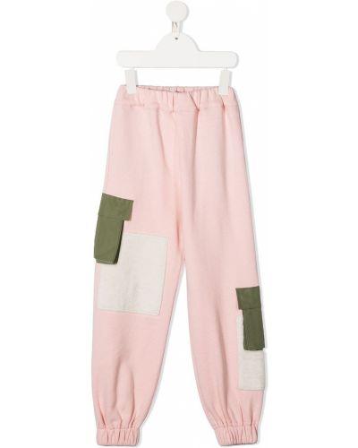 Розовые нейлоновые брюки эластичные с нашивками Owa Yurika