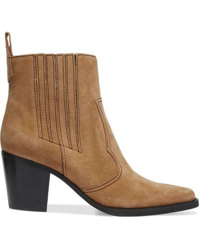 Brązowe ankle boots kaskadowe na obcasie Ganni